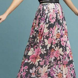 New MAEVE ANTHRO sequin floral pleated midi skirt